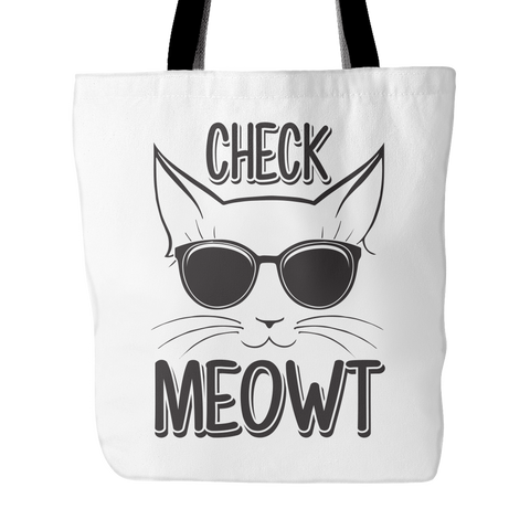 Black & White Check Meowt Cat Tote Bag