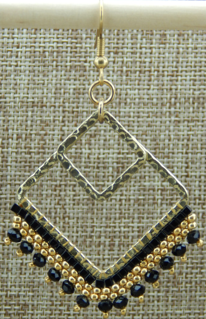 Bricks In the Square Earring Gold & Black NMDE