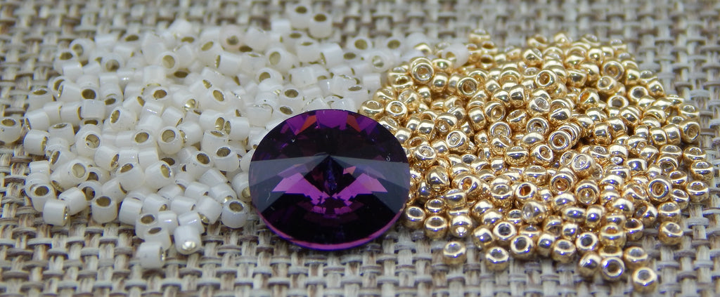 Crystal Shimmer Ring Gold with Amethyst Rivoli