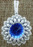 Super Duo Bezel Pendant Blue and Silver
