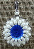 Super Duo Bezel Pendant Blue and White