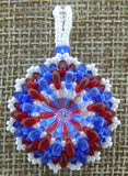 Super Duo Wrap Bezel Pendant Red, White & Blue
