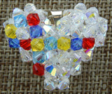 Woven Heart Pendant Autism Clear AB