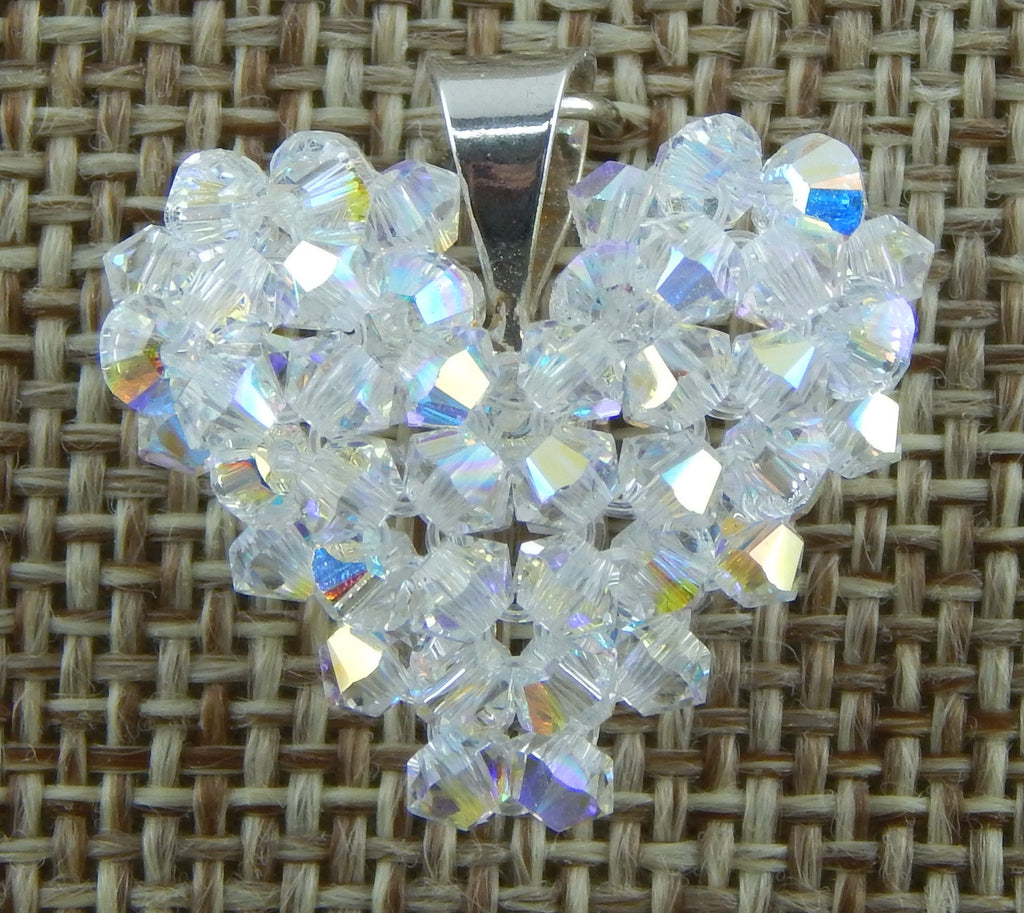 Woven Heart Pendant Clear AB Swarovski Crystal