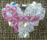 Woven Heart Pendant Clear AB with Pink Ribbon
