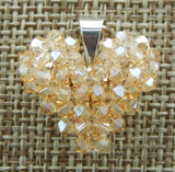 Woven Heart Pendant Gold Shadow Swarovski Crystal