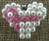 Woven Heart Pendant Pearl with Pink Ribbon