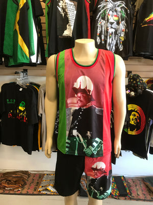 Marcus Garvey tank top and shorts. Two piece