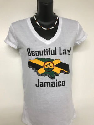 Jamaican woman's T-shirt. Beautiful land Jamaica