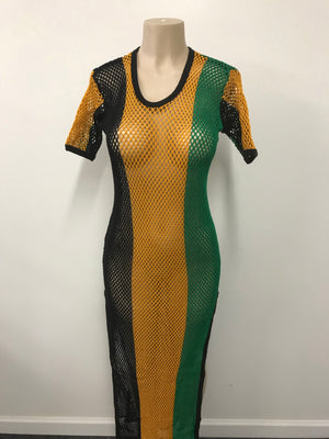 Jamaican mesh maxi dress.