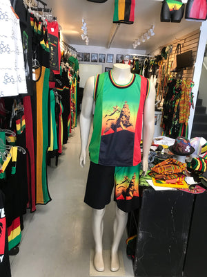 Rastawearcollection lions men's tank top and shorts. Two piece