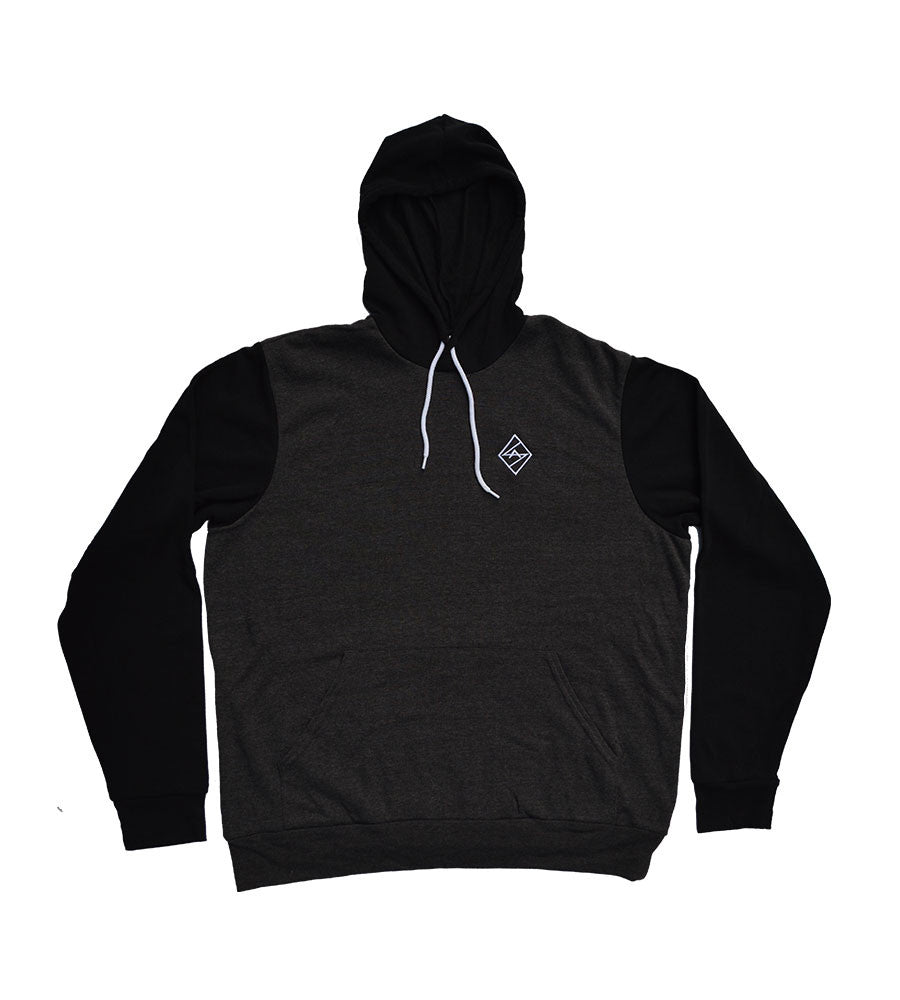 Dark Grey Heather / Black  2 tone Hoodie