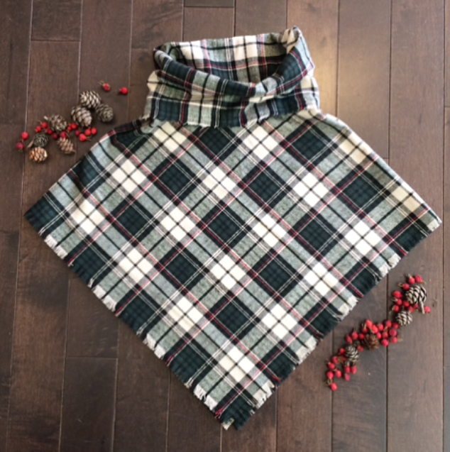 Poncho - Hunter Green Plaid