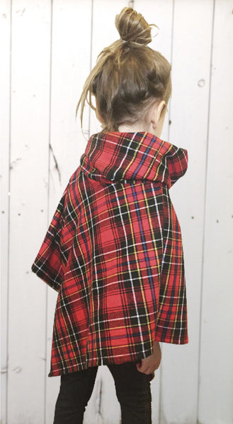 Matching Lumber Jack Plaid Triangle Poncho, for Children & Toddlers & Adults