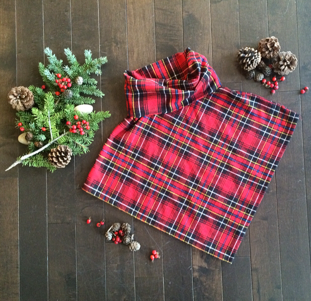 kids plaid poncho