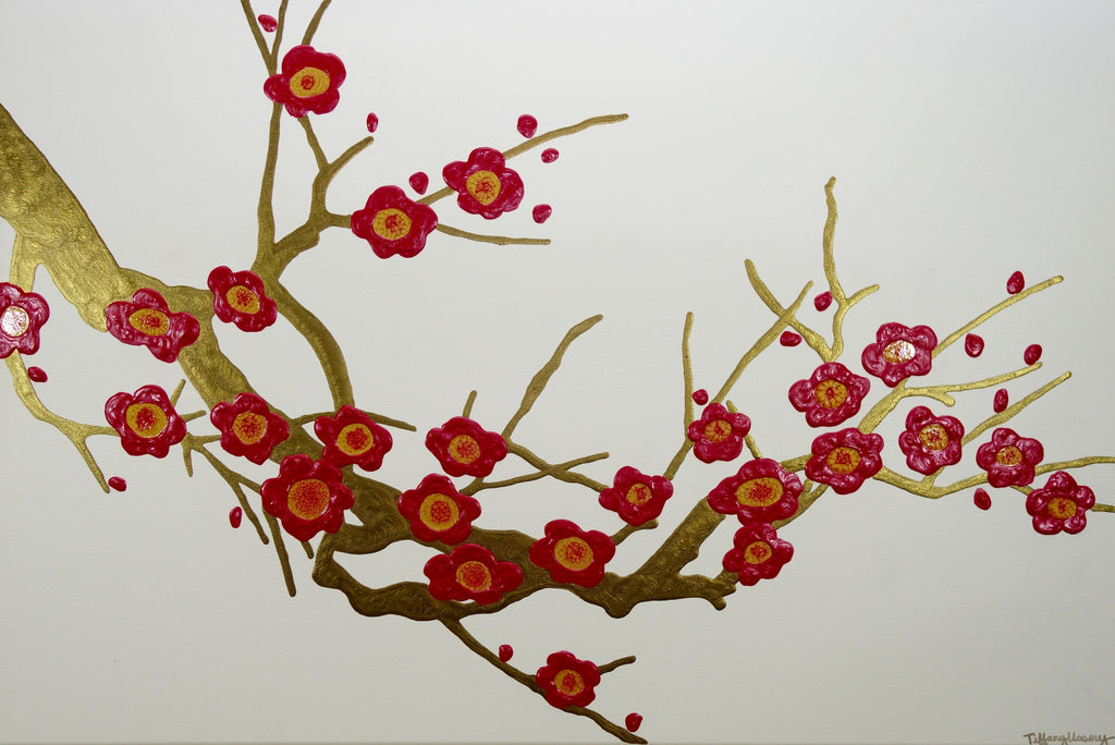 red cherry blossoms 36x24 tiffany ussery artwork