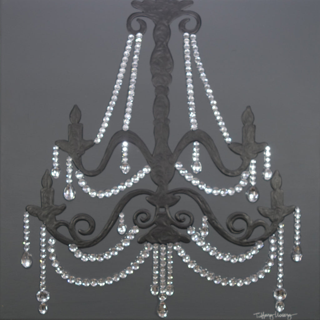 Grey chandelier ii silver 20x20 tiffany ussery artwork grey chandelier ii silver 20x20 aloadofball Image collections