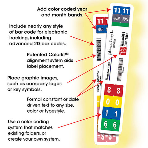 "Smead ColorBar 8"" Label, 6-Up Sheet, 1008 labels per box (02482)"