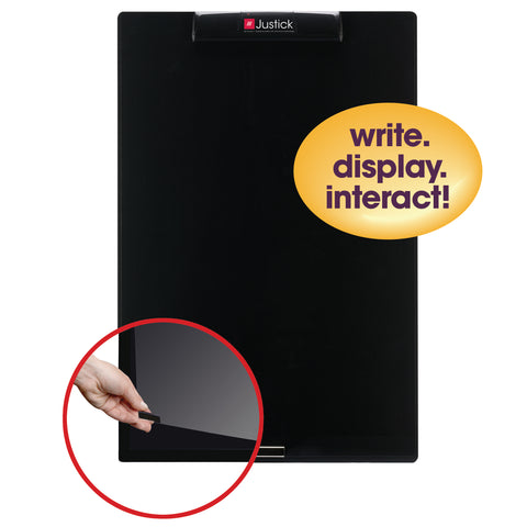 "Justick by Smead, Frameless Mini Dry-Erase Board with Clear Overlay, 16""W x 24""H with Justick Electro Surface Technology, Black (02545)"