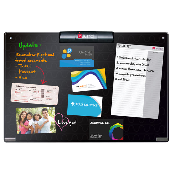 "Justick by Smead, Frameless Mini Dry-Erase Board with Clear Overlay, 24""W x 16""H with Justick Electro Surface Technology, Black (02548)"