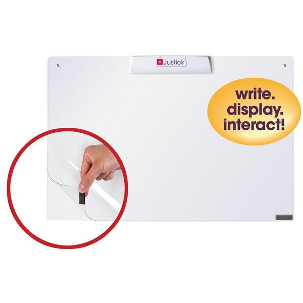 "Justick by Smead, Frameless Mini Dry-Erase Board with Clear Overlay, 24""W x 16""H with Justick Electro Surface Technology, White (02549)"