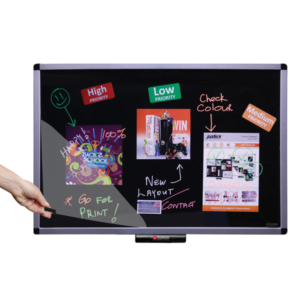 "Justick by Smead, Premium Aluminum Frame Dry-Erase Board with Clear Overlay, 36""W x 24""H with Justick Electro Surface Technology, Black (02562)"