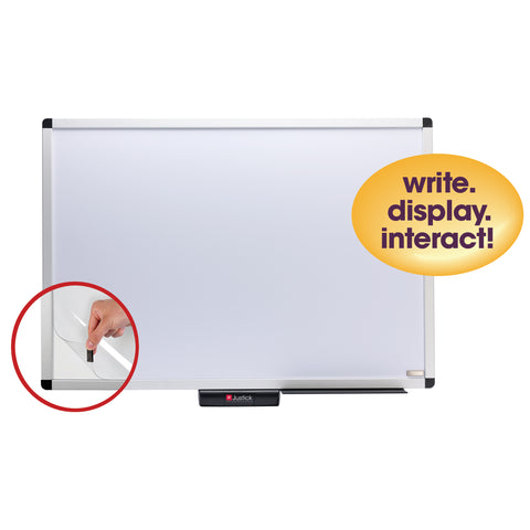 "Justick by Smead, Premium Aluminum Frame Dry-Erase Board with Clear Overlay, 36""W x 24""H, with Justick Electro Surface Technology, White (02571)"