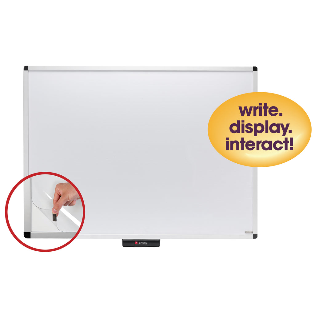 "Justick by Smead, Premium Aluminum Frame Dry-Erase Board with Clear Overlay, 48""W x 36""H, with Justick Electro Surface Technology, White (02572)"