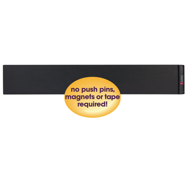 "Justick by Smead, Frameless Wall Strip Display, 48""W x 8""H, with Justick Electro Surface Technology, Black (02580)"