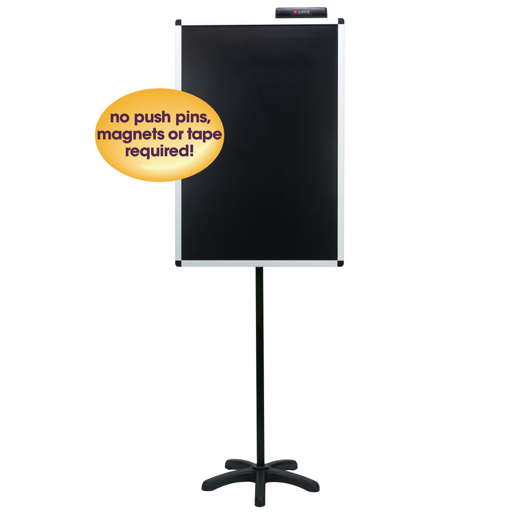"Justick by Smead, Lobby Stand, 24""W x 36""H, with Justick Electro Surface Technology, Black (02585)"