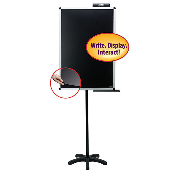 "Justick by Smead, Dry-Erase Lobby Stand with Clear Overlay, 24""W x 36""H, with Justick Electro Surface Technology,Black (02586)"
