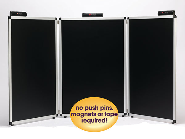 "Justick by Smead, 3-Panel Table Top Expo Display, 72""W x 36""H, with Justick Electro Surface Technology, Black (02590)"