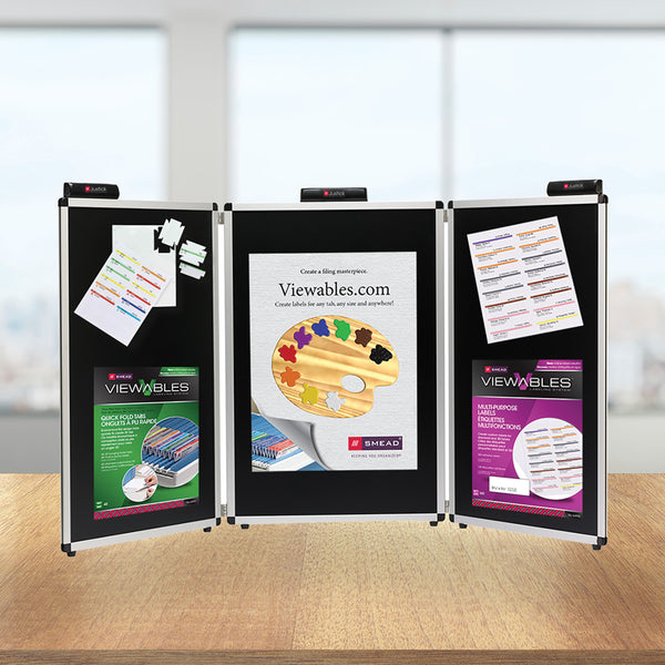 "Justick by Smead, 3-Panel Table Top Expo Display, 78""W x 36""H (Useable Surface), with Justick Surface Technology, Black (02590)"