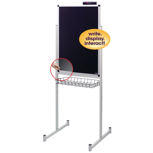 "Justick by Smead, Dry-Erase Promo Stand with Clear Overlay, 24""W x 36""H, with Justick Electro Surface Technology, Black (02595)"