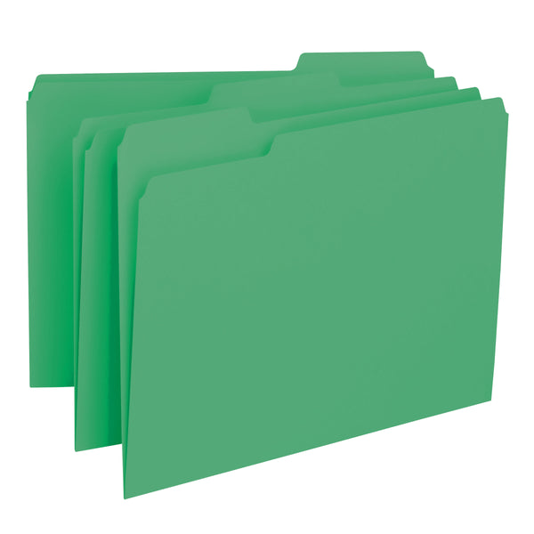 Smead Interior File Folder, 1/3-Cut Tab, Letter Size, Green, 100 per Box (10247)
