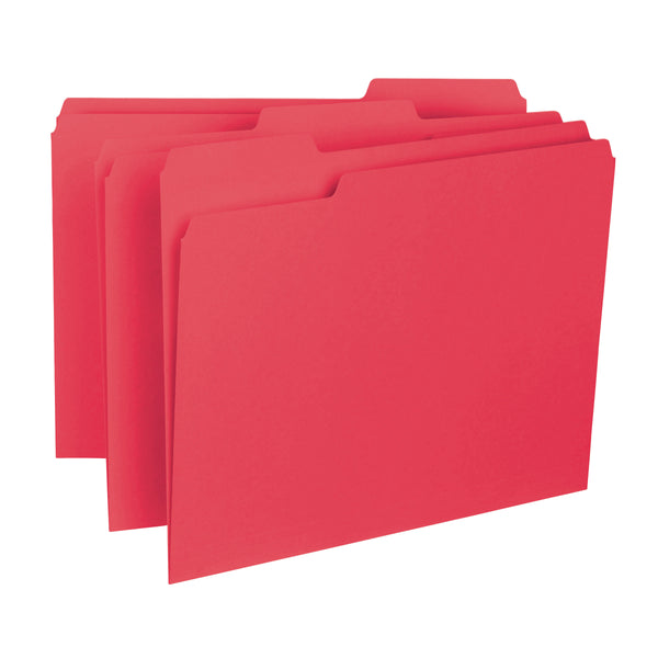 Smead Interior File Folder, 1/3-Cut Tab, Letter Size, Red, 100 per Box (10267)