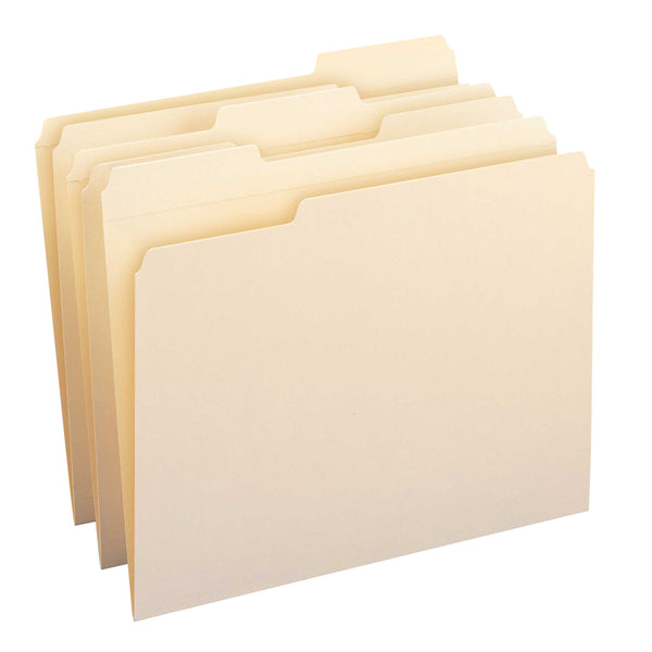 Smead WaterShed® File Folder, Reinforced 1/3-Cut Tab, Letter Size,  Manila, 100 Per Box (10314)