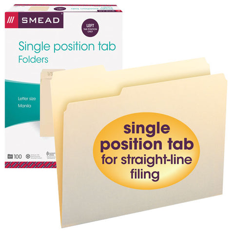 Smead File Folder, 1/3-Cut Left Position, Letter Size, Manila, 100 per Box (10331)