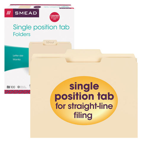 Smead File Folder, 1/3-Cut Tab Center Position, Letter Size, Manila, 100 per Box (10332)