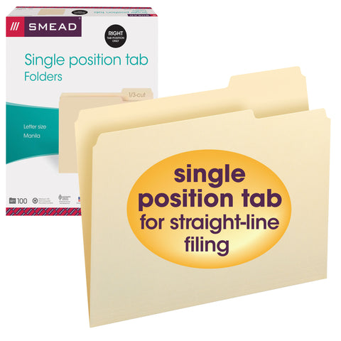 Smead File Folder, Letter, 1/3-Cut Tab Right Position, Letter Size, Manila, 100 per Box (10333)