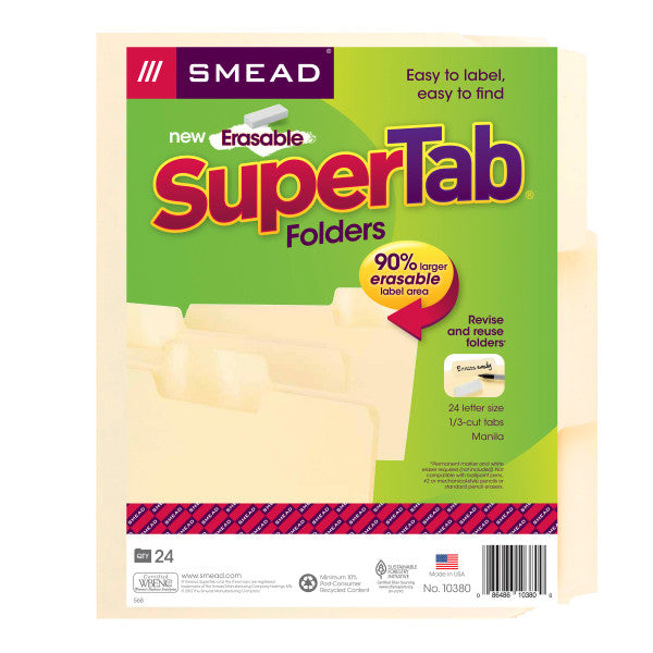 Smead Erasable SuperTab® File Folders, Erasable 1/3-Cut Tabs, Letter, Manila, 24 per Pack (10380)