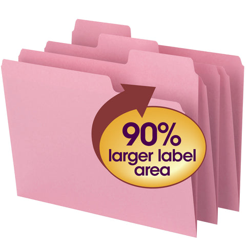 Smead SuperTab® File Folder, Oversized 1/3-Cut Tab, Letter Size, Pink, 12 Per Pack (11819)