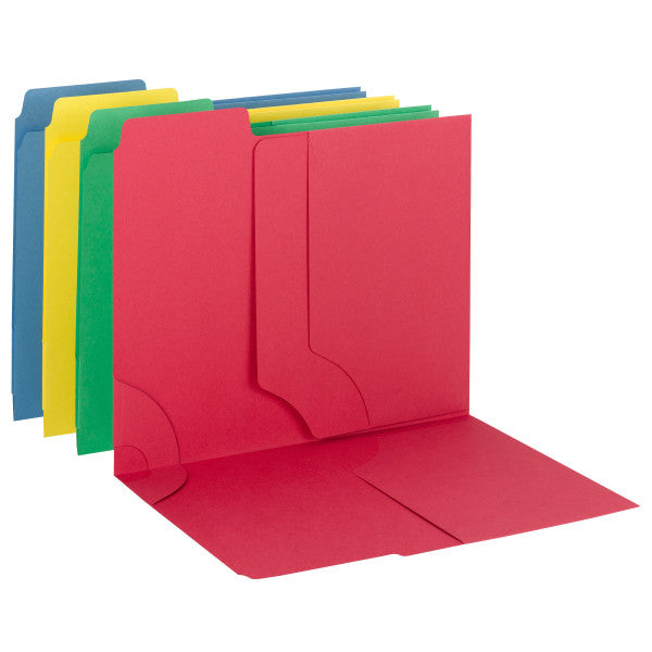 Smead 3-in-1 SuperTab® Section Folder, Oversized 1/3-Cut Tab - First Position, Letter Size, Assorted Colors, 12 per Pack (11905)