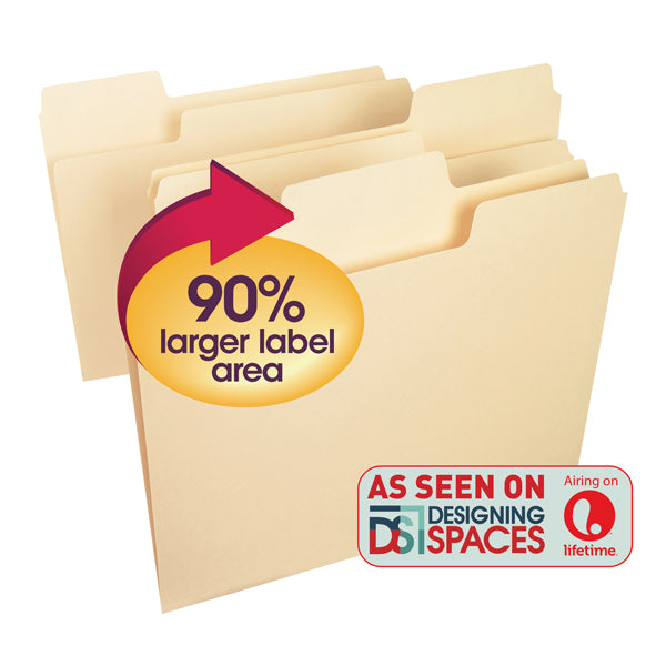 Smead SuperTab® File Folder, Oversized 1/3-Cut Tab, Letter Size, Manila, 24 Per Box (11920)