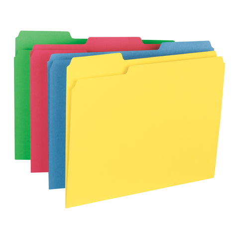 Smead WaterShed/CutLess File Folder, 1/3 Cut Tab, Letter Size, Assorted Colors, 24 Per Pack (11952)