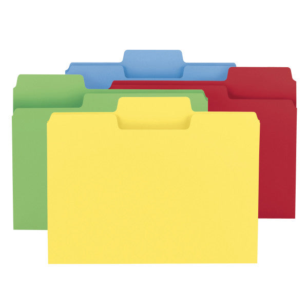Smead SuperTab® File Folder, Oversized 1/3-Cut Tab, Letter Size, Assorted Colors, 24 per Pack (11956)