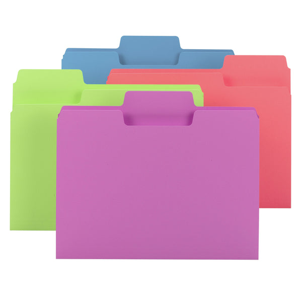 Smead SuperTab® File Folder, Oversized 1/3-Cut Tab, Letter Size, Assorted Bright Colors, 24 per Pack (11957)