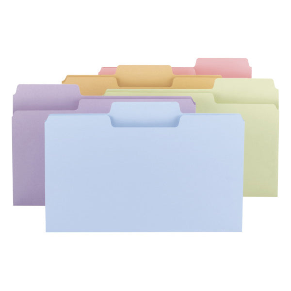 Smead SuperTab® File Folder, Oversized 1/3-Cut Tab, Legal Size, Assorted Colors, 100 per Box (11962)