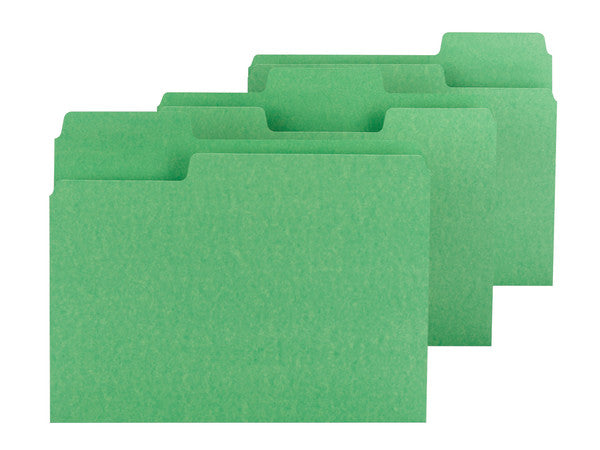 Smead SuperTab® File Folder, Oversized 1/3-Cut Tab, Letter Size, Green, 100 per Box (11985)