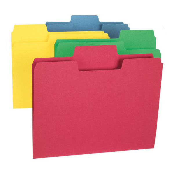 Smead SuperTab® File Folder, Oversized 1/3-Cut Tab, Letter Size, Assorted Colors, 100 per Box (11987)